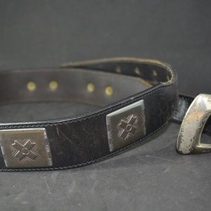 VTG BOGNER ONYX BLACK LEATHER BELT PEWTER ACCENTS